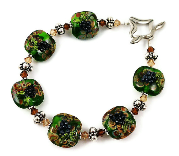 Wine Country Lampwork Crystal and Sterling Silver Bracelet