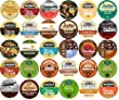 30-count K-cup for Keurig Brewers ALL FLAVORED Coffee Variety Pack Featuring Green Mountain, Donut House, Grove Square Cappuccino, Authentic Donut House, Barnie's Coffee Kitchen, Hurricane, Martinson, Brooklyn Bean, Java Factory, Guy Fieri, & Gloria Jeans