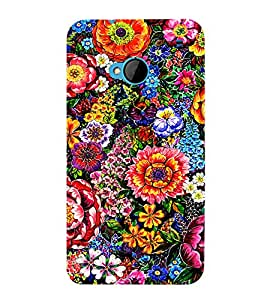 PrintVisa Colorful Flower Pattern 3D Hard Polycarbonate Designer Back Case Cover for HTC One M7