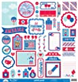 Doodlebug Designs Patriotic Parade 12x12 This & That Scrapbook Sticker Sheet