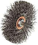 Weiler Narrow Face Wire Wheel Conflex Brush, Round Shank, Steel, Crimped Wire