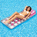 "76"" Pink And Clear Swimming Pool Classic French Tufted Pocket Inflatable Floating Air Mattress Raft"