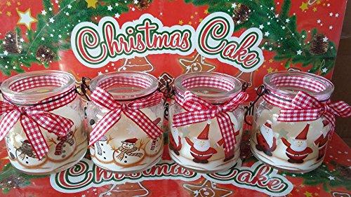 4 Stück Duftkerzen im Glas mit Henkel - Nikolaus und Schneemann sortiert
