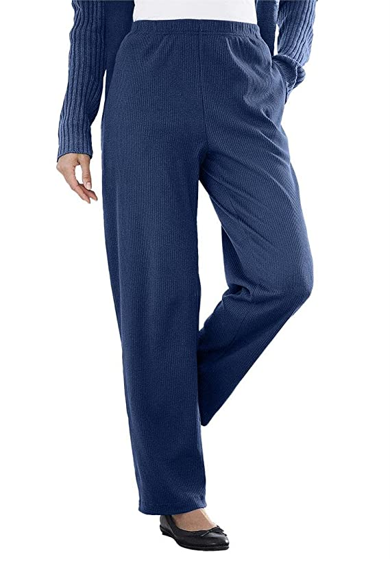 Woman Within Women's Plus Size Tall Ribbed 7-Day Knit Pants
