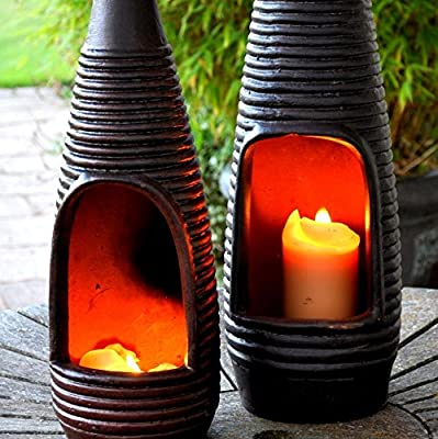 San Miguel Table Top Terracotta Chimenea Chiminea Heater Light Free Candle