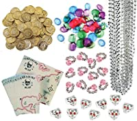 240 Pc Pirate Loot Party Favor Pack (144 Pirate Gold Coins, 36 Pirate Jewels, 24 Treasure Maps, 12 Pink Diamond Rings, 12 Pirate Skull Rings, & 12 Silver Bead Necklaces) by Multiple