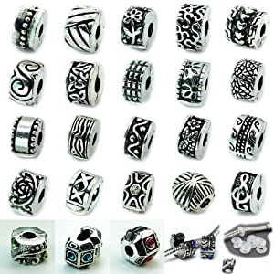 Ten (10) Antique Silver Clip Lock Beads + 10 Rubber Stopper O-rings. (Styles You Will Receive Are Shown in Picture Random 10 Clips Mix) Fits Pandora Troll Chamilia Kay's Zable