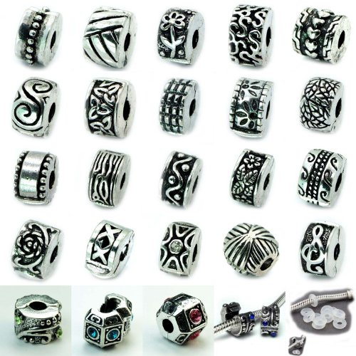 Ten (10) Antique Silver Clip Lock Beads + 10
