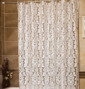 European White Flowers Peva Transparent Shower Curtain Water Resistant 78 Inches