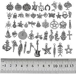 RUBYCA 200Pcs Wholesale Bulk Lots Tibetan Silver Color Mix Pendants Charms Bracelet Jewelry Mix1