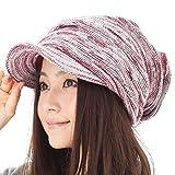 小顔効果 くしゅっとニットキャスケット 帽子 レディース 大きいサイズ 帽子 メンズ 秋冬 つば付き ニット つば長 つば広 耳あて代わりの防寒対策 【フリーサイズ(約57-63cm)-レッドホワイト】