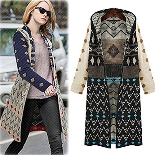 Ulike2 Women Hooded Geometric Jacquard Knitted Cardigan Coat Boho Gypsy Long Sweater (Black)