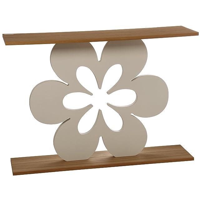 DonRegaloWeb–Tavolo da Ingresso In Legno Con Disegno Fiore in marrone chiaro e bianco