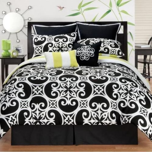 Dorm Twin Xl Teen Comfy Black White Lime Reversible Scroll Stripe Comforter Set front-1027302