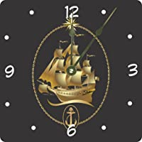 Gold Sailboat Emblem Design 6 Desk Clock