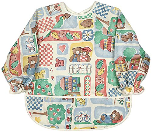 Raindrops Long Sleeve Print Bib, Bears