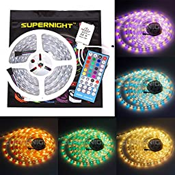 SUPERNIGHT 16.4ft 5M DC12V 5050 SMD Silicone Tube IP67 Waterproof RGBWW LED Strip light RGB+Warm White Colorful LED Strip Light 300 LEDs 60led/M with RGBW LED Controller
