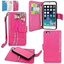 iPhone 6 6S Case - Cellularvilla Diamond Glitter Bow Design PU Leather Flip Wallet Pocket Card Slots Case & Detachable Back Cover With Wristlet for Apple iPhone 6 6S 4.7 inch (Hot Pink Bow Tie)