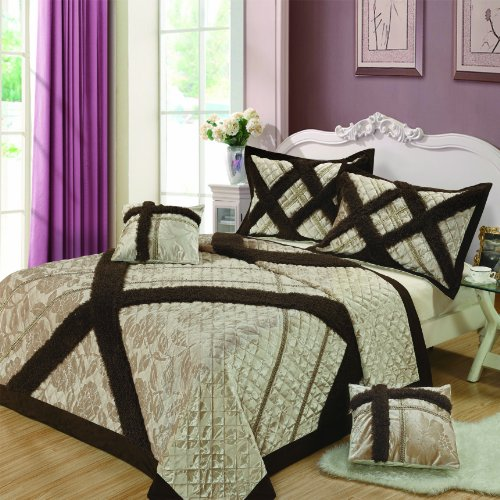 Dada Bedding Yg1024K Classic 5-Piece Bedspread Set, King, Beige back-995159