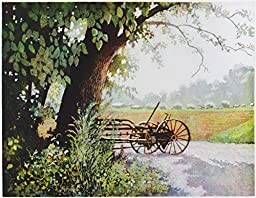 At Rest, Giclee Print of Aquatint Farm Scene, 7 X 9 Inches