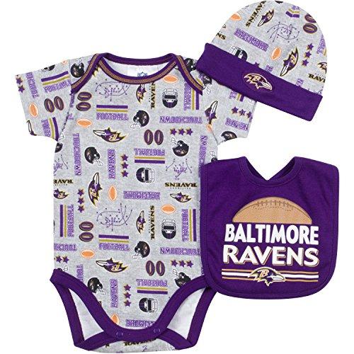 NFL Baltimore Ravens Bodysuit, Bib & Cap Set (3 Piece), 3-6 Months, Gray by Gerber - Sports Licensed