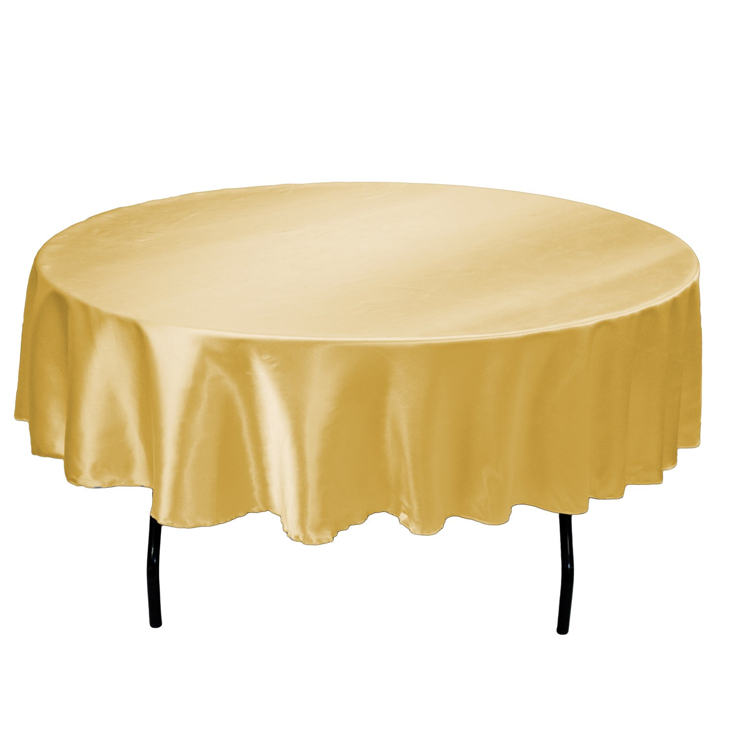Linentablecloth 90 Inch Satin Tablecloth Round Gold