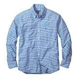 (エディー・バウアー) Eddie Bauer 長袖オックスフォードギンガムチェックロゴボタンダウンシャツ(グースロゴ刺しゅう入り)(トゥルーブルー S)