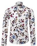 APTRO(アプトロ)メンズ ワイシャツ yシャツ 花柄 長袖シャツ スリム 上質仕様 鮮やか カジュアル フロラル 兄貴系 チョイワル系 APT1014 M