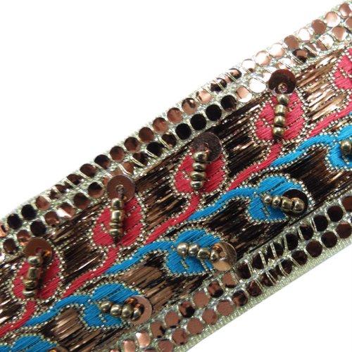 1 Yard Jacquard Copper Hand Beaded Sequin Ribbon Trim