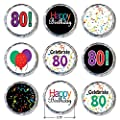 Happy 80th Birthday Sticker Decorations for Hershey Kisses (Set of 324)