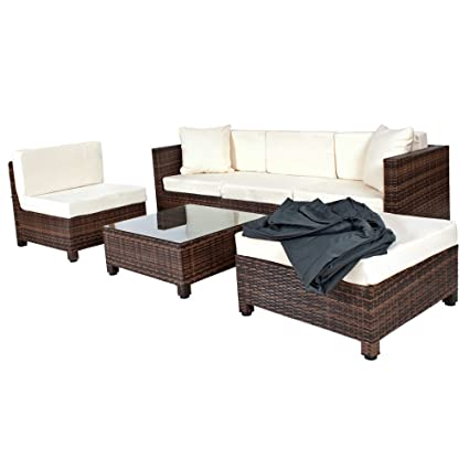 TecTake - Conjunto muebles de Jardín en Poly Ratán Aluminio, color marrón negro + 2 Set de fundas intercambiables, color Beige/Gris