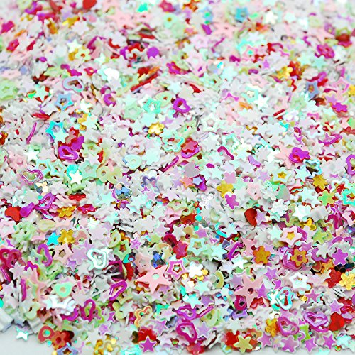 Best Deals! Colorful Manicure Glitter Confetti 1.8oz/50g Mixed Shapes Size 3mm Great for Party Déco...