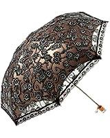 MiiHome Ladies Umbrella Lace Parasol Folding Umbrella Sun Shade Anti-uv (black)