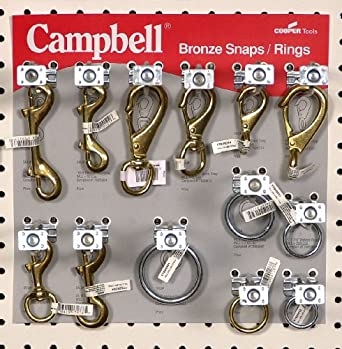 "Campbell 0720056 131 Piece 12"" x 12"" Bronze Snaps and Welded Rings Display Assortment"