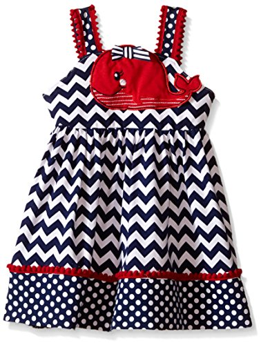 Nannette Little Girls Knit Sundress with Whale Applique On Bodice, Red/White/Blue, 3T