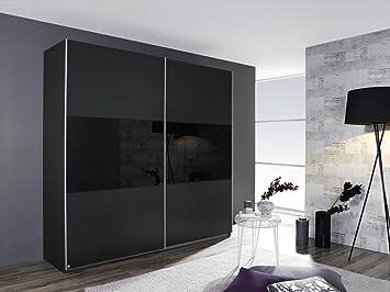 Schwebeturenschrank LORIGA Breite 175 cm grau-metallic / schwarz