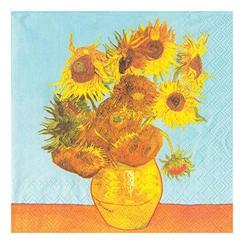 Ideal Home Range 20 Count Boston International 3-Ply Paper Cocktail Napkins, Van Gogh Sunflowers