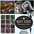 Night Stars Celebration Series LED Image Motion Projection Light w/ 12 Festive Slides, Christmas, Halloween, St Patricks Day Many Holidays!
