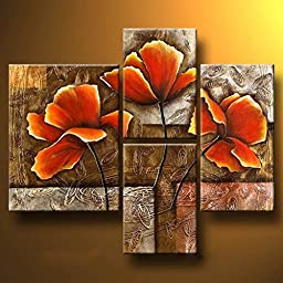 Wieco Art - Golden Poppies On Golden Texture Modern Stretched and Framed Flowers Artwork 4 Panels 100% Hand Painted Abstract Floral Oil Paintings on Canvas Wall Art Ready to Hang for Living Room Bedroom Home Decorations