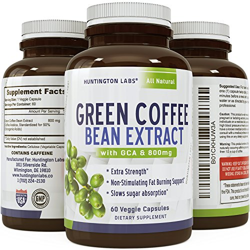 Pure Green Coffee Bean Extract for Weight Loss Pills - Dietary Supplement to Burn Fat Curb Appetite and Boost Metabolism for Men and Women - Contains Antioxidants to Detox and Cleanse - 800mg Capsules (Pure Green Bean Coffee compare prices)
