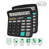 Basic Calculator,BESTWYA 12-Digit Dual Power Handheld Desktop Calculator with Large LCD Display Big Sensitive Button (Black,Pack of 2) (Color: Black,pack of 2., Tamaño: 5.7x4.7x1.8 (Inch))