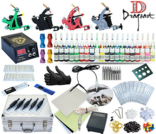 Complete Tattoo Kit 4 Machine Guns Set Equipment Power Supply 40 Color Inks