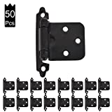 JQK 1/2 Inch Overlay Cabinet Door Hinges, Flush Cabinet Hinges, 50 Pack Matte Black, CH200-BK-P50 (Color: B-Overlay flush black(50 pack), Tamaño: B-Overlay flush black(50 pack))