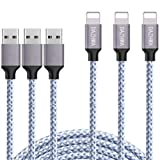 DAZHWA iPhone Charger 3PACK (6FT) Nylon Braided Charging Cable Cord USB Cable Charger Compatible iPhone X/8/7/6s/ 6/ Plus/ 5SE/ 5s/ 5c/ 5, Pad, Pod, and More (Silver) (Color: Silver, Tamaño: 6 ft)
