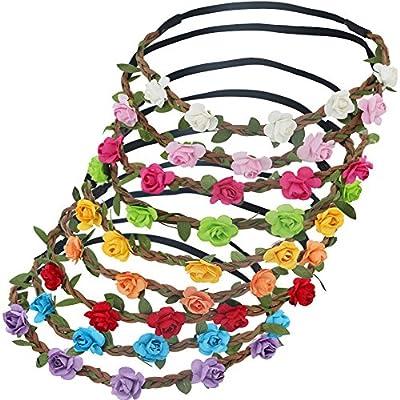 9pcs Baby Girls Flower Garland Headband Beach Wreath Floral Flowers Crown Hair Bands