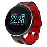 COSVII Smart Watch Waterproof, Bluetooth Fitness Tracker with Heart Rate Monitor, Sleep Monitor, Step& Calories Tracker, Alarm Clock, Call/SNS/SMS Reminder, Compatible with Android and iOS (Red) (Color: Red, Tamaño: 9*1.6*0.5'' (Total length + case diameter + thick))