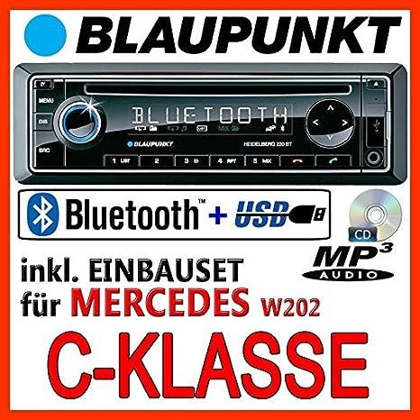 Mercedes Benz W202 C-Klasse - BLAUPUNKT Heidelberg 220 BT - CD/MP3/USB Autoradio inkl. Bluetooth - Einbauset
