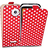 Cooltechstuff Red White Polka Dots Flip PU Leather Hard Fitted Case Cover For HTC One X Case Cover