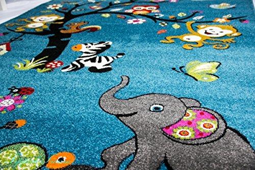 Kinderteppich eule grau  Spielteppich Kinderzimmer Teppich Zootiere niedliche bunte Tiere ...