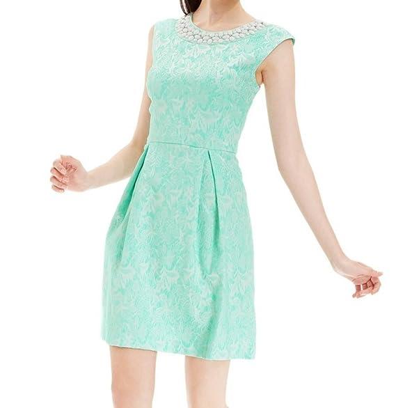 Sandra Darren Mint Womens Pleated Bead-Embellish Textured Dress